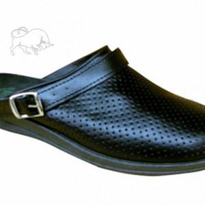 Сабо мужские черные кожаные  Ионел